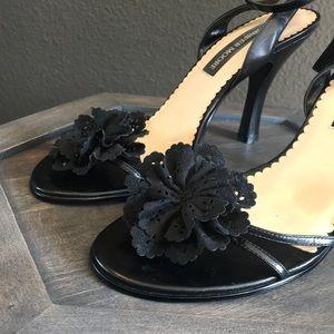 Jennifer Moore Shoes - 🔥 1 hr SALE - Black leather heels, floral